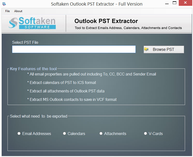 Outlook PST Extractor - Extract Outlook Attachments, Emails, Contacts